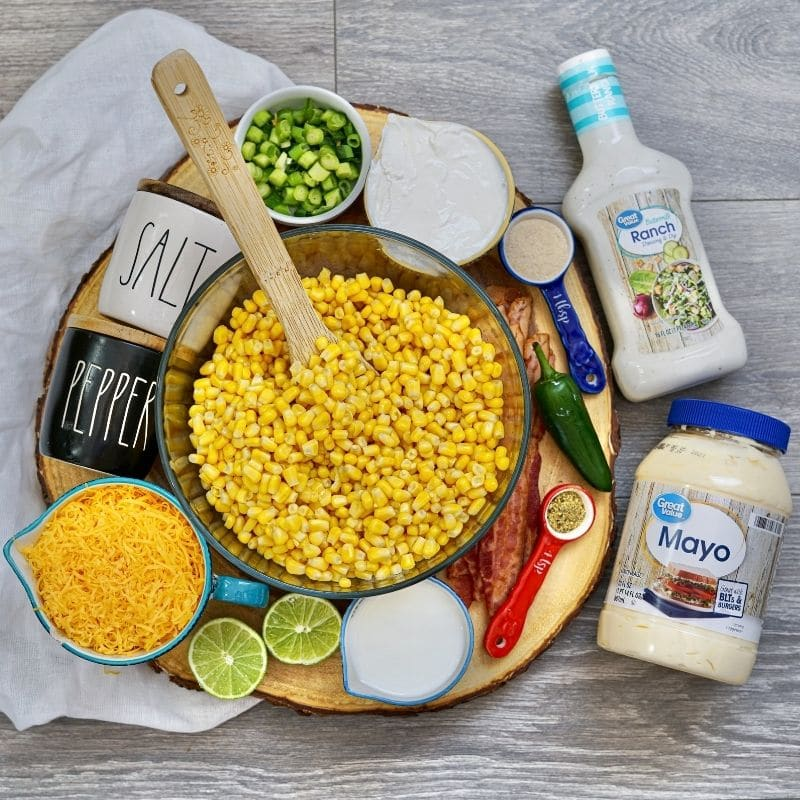 summer corn salad ingredients on table