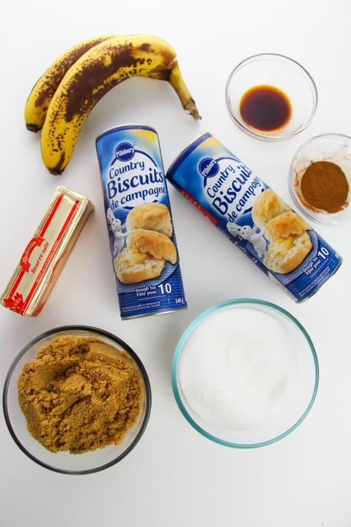 ingredients for canned biscuit monkey bread on counter
