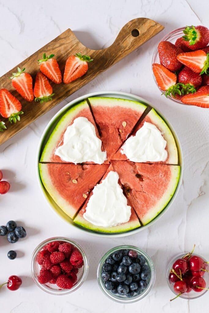yogurt spread on watermelon slices