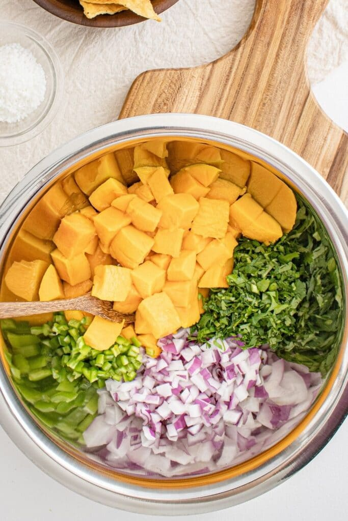 ingredients for mango salsa in a metal bowl