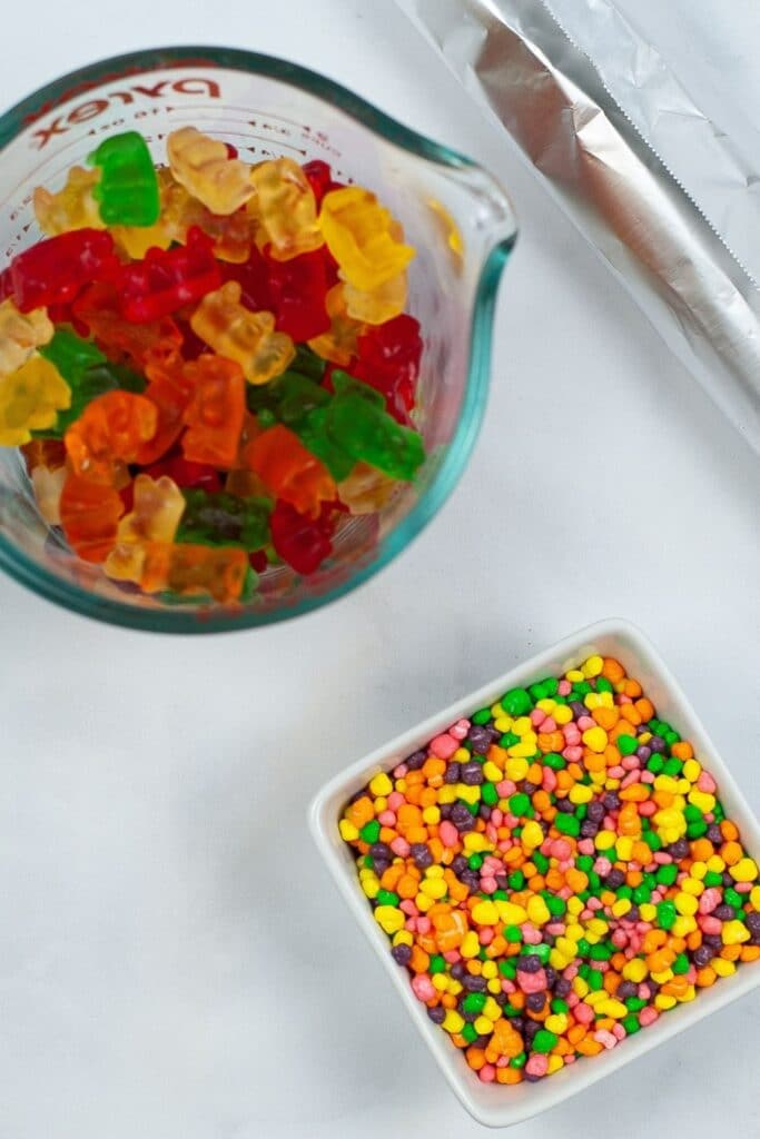 gummy bears and nerds on counter