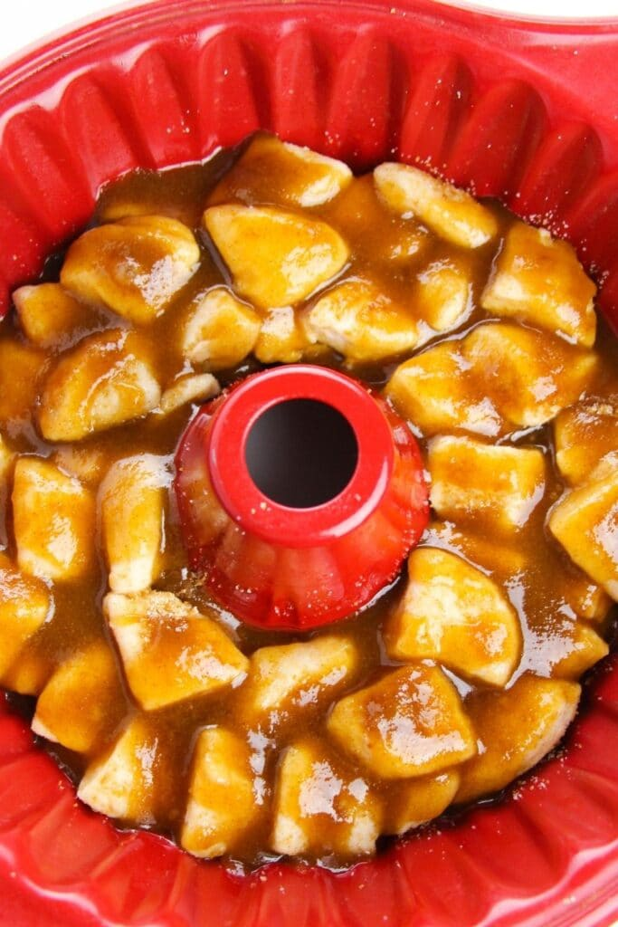 pillsbury monkey bread raw in red bundt pan