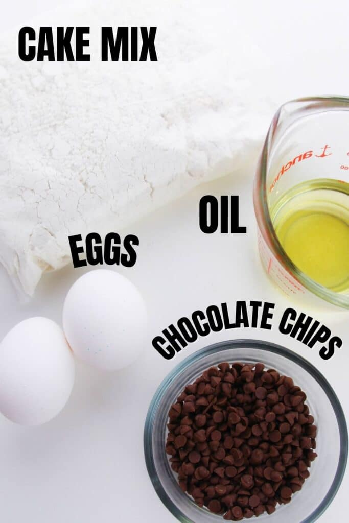 ingredients for cake mix cookies on a white counter