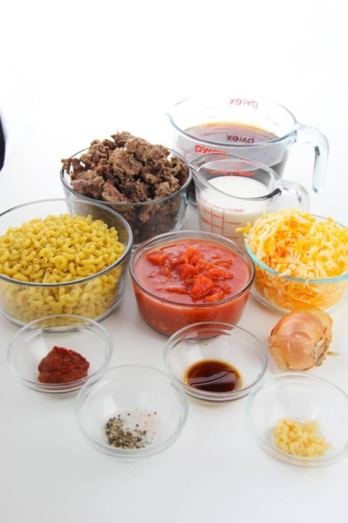 white counter with food in glass containers