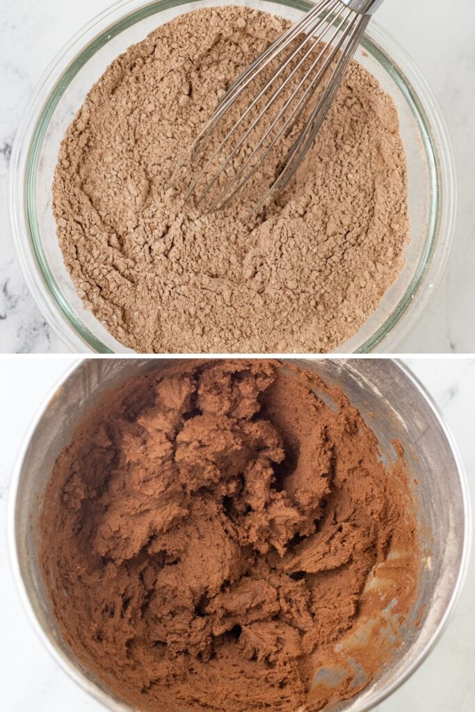 mixing up chocolate cookie bars