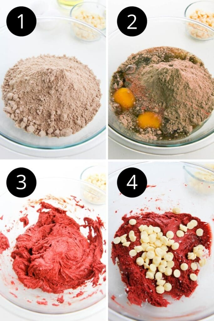 collage of pictures of how to make red velvet cookies with cake mix