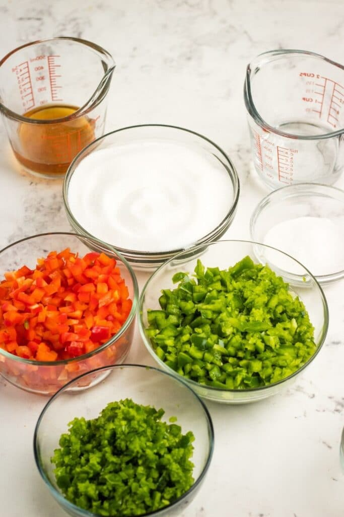 pepper jelly ingredients on marble counter