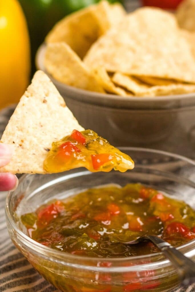 pepper jelly on a tortilla chip