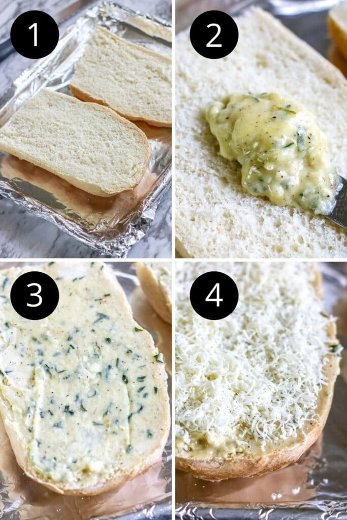 collage of how to make garlic cheesy bread