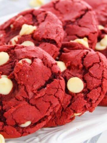 platter with red velvet cookies