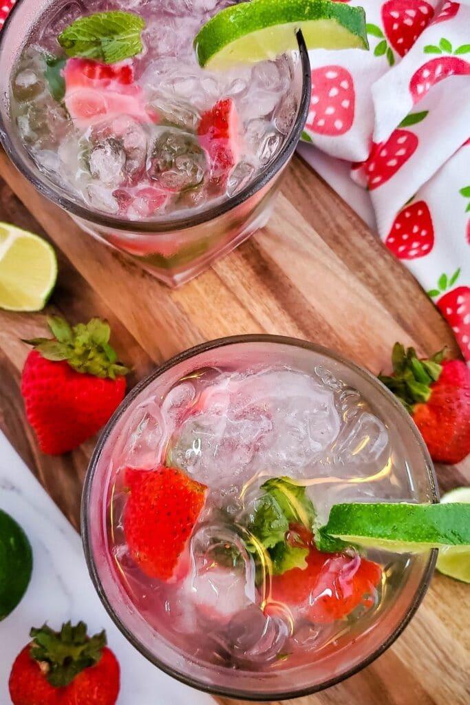 overhead shot of a mint strawberry mojito glass