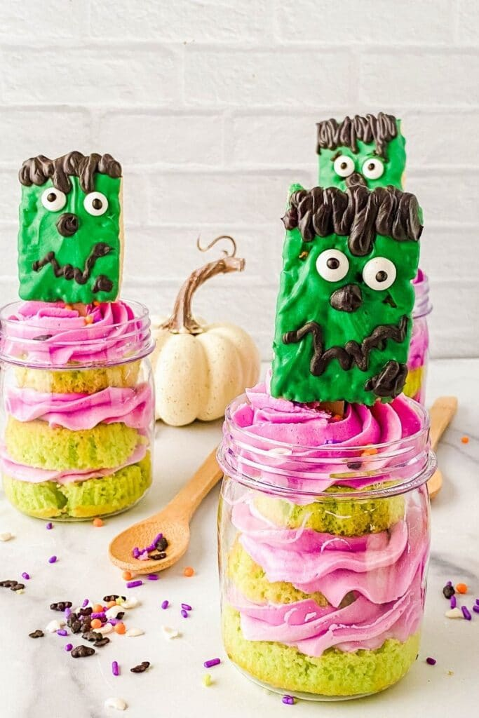 Halloween Cupcake In a Jar on Counter