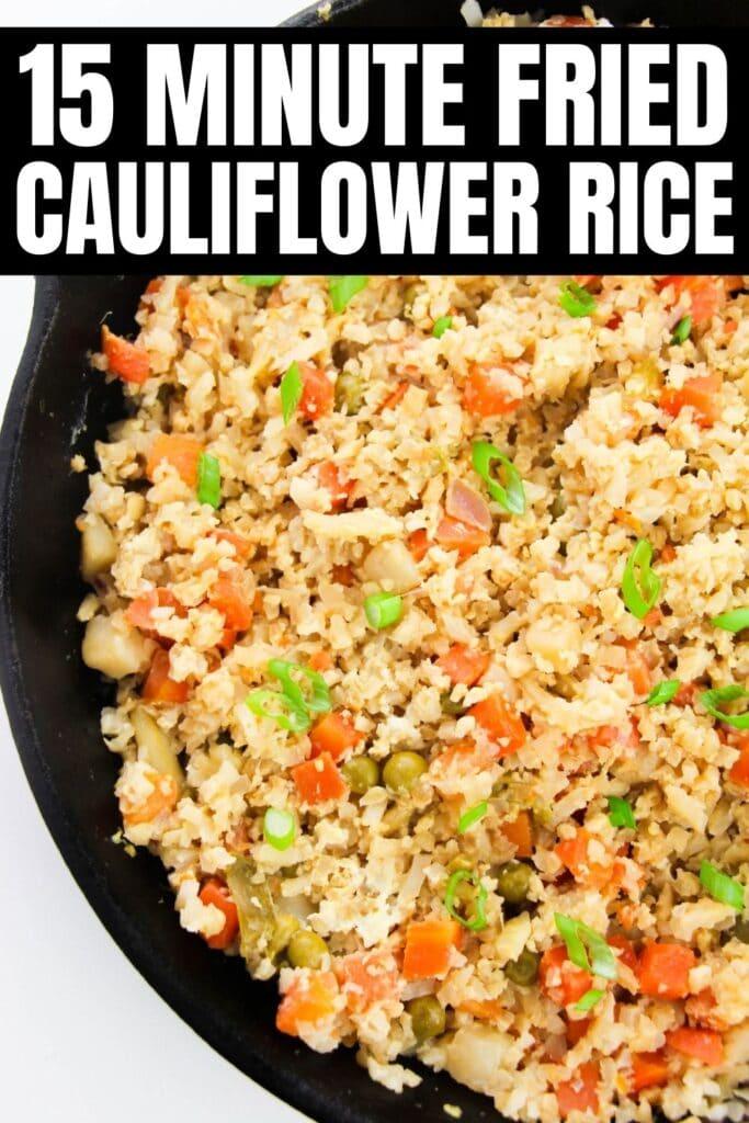 skillet with fried cauliflower rice