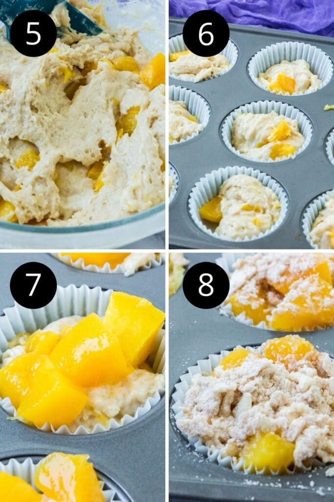 collage of peach muffin batter steps on how to make