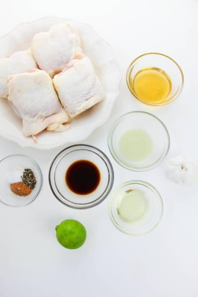 chicken thigh recipe ingredients on counter