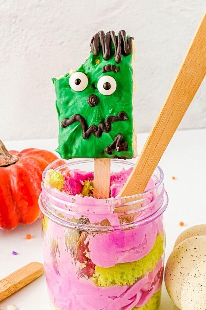 Frankenstein cupcake treat with bite taken out