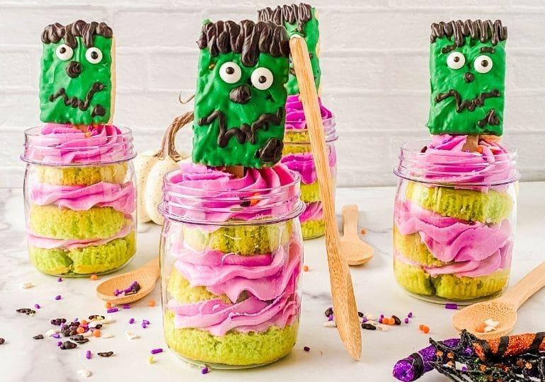 frankenstein cupcake dessert in jars