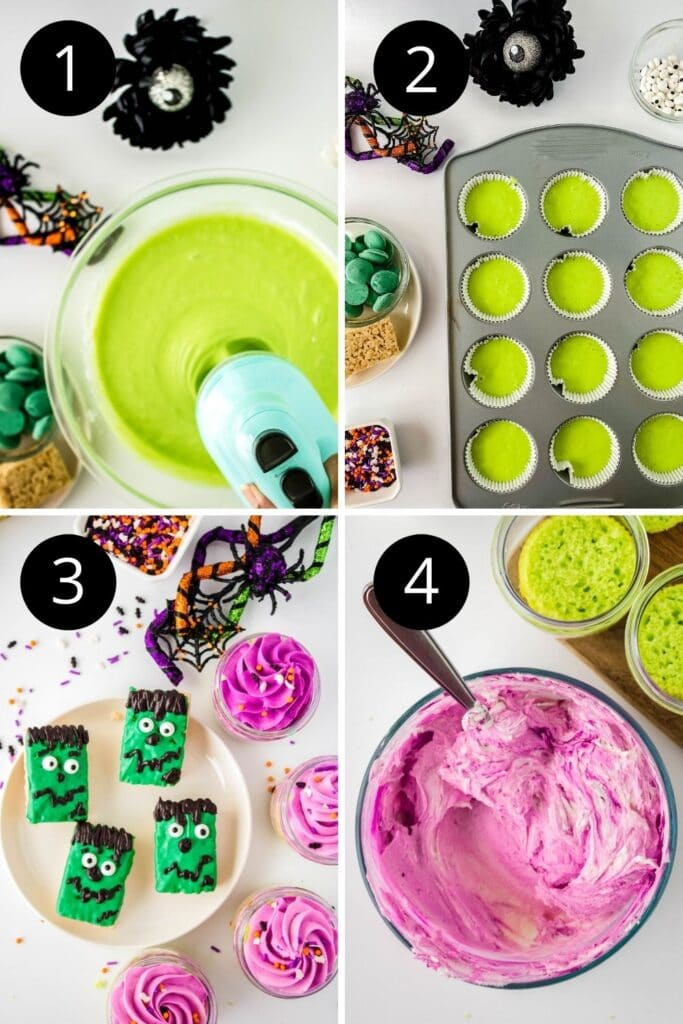 steps on how to make halloween cupcakes in a collage
