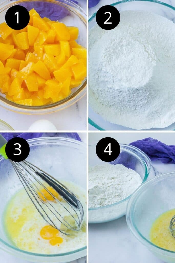 picture collage on how to make muffins with peaches