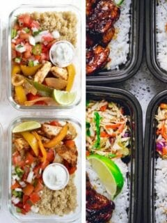 collage of food in meal prep containers