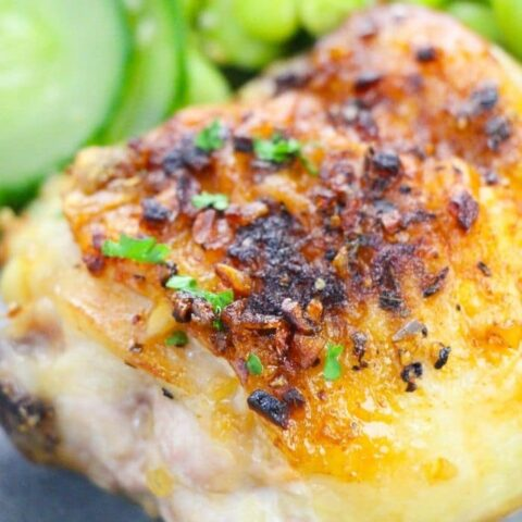 close up view of chicken with ganish
