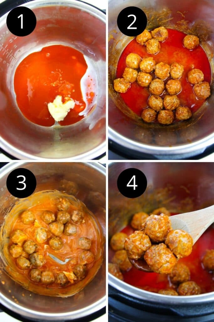 collage of pictures on how to make meatballs in Instant Pot