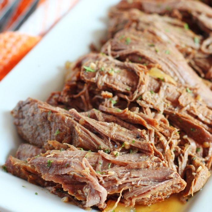 deer roast on platter