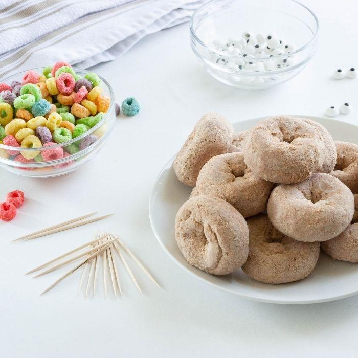 turkey donut ingredients on white counter