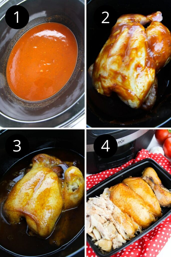 collage on how to cook a whole chicken in slow cooker