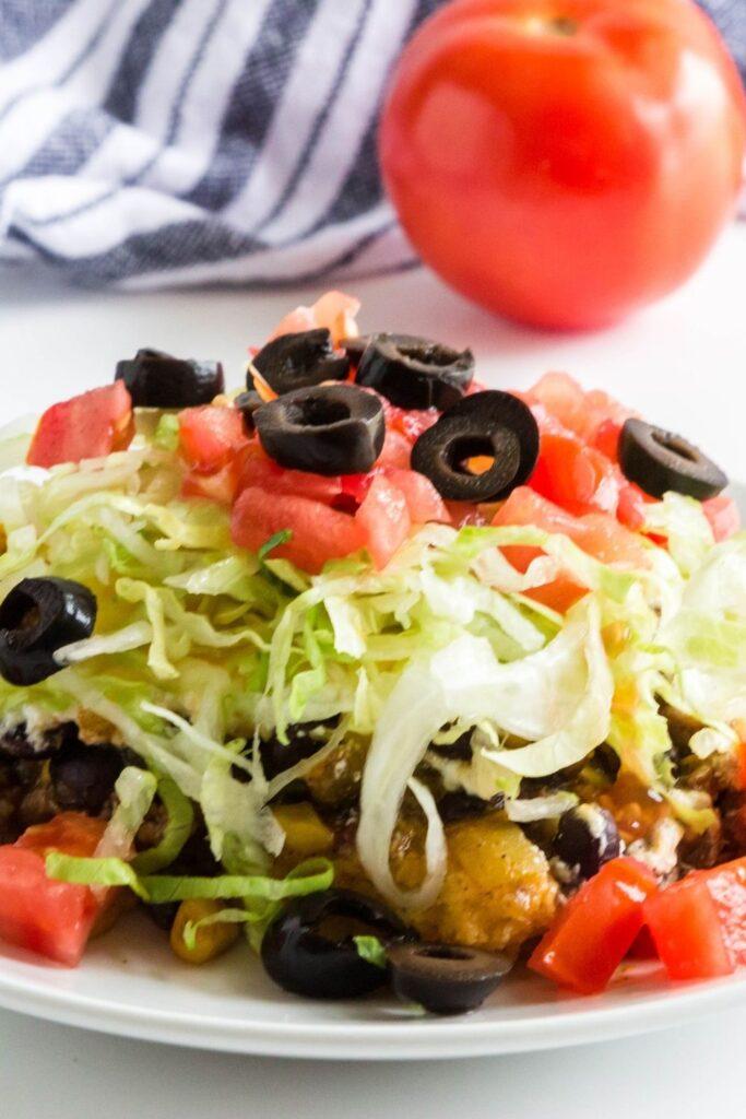 ground beef taco casserole on plate