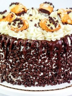 cannoli cake on a cake stand