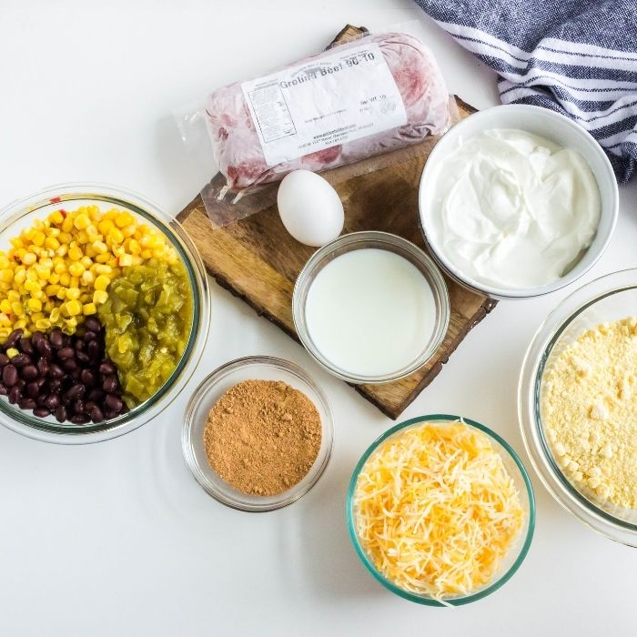 ingredients on a counter for taco bake