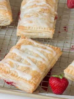 cooking tray with strudels on it