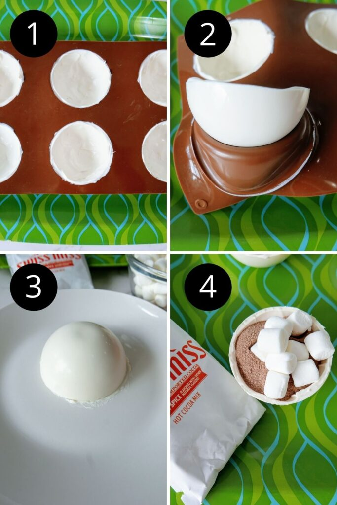 collage on how to make white chocolate bombs